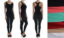 WOMEN SEAMLESS SPANDEX SLEEVELESS RACERBACK CATSUIT JUMPSUIT BODYSUIT DANCE