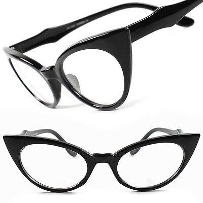 Cat Eye Pointy Black Tortoise Clear Lens Glasses Rockabilly Women