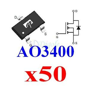 50x-SMD-SOT23-AO3400-3400-N-Channel-30V-5-8A-MOSFET-for-PWM-Load-Switch