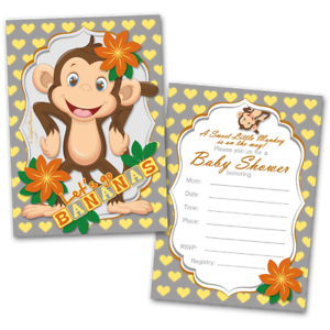Flat Cards Set Of 20 4.25 x 5.5 Baby Shower Invitations With Envelopes Girl Baby Monkey Fill In Blank Invitations Flat Card Invitations
