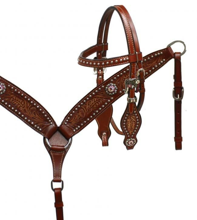 Showman PONY Leather Bridle & Breast Collar w  Floral Tooling & Rhinestones  NEW
