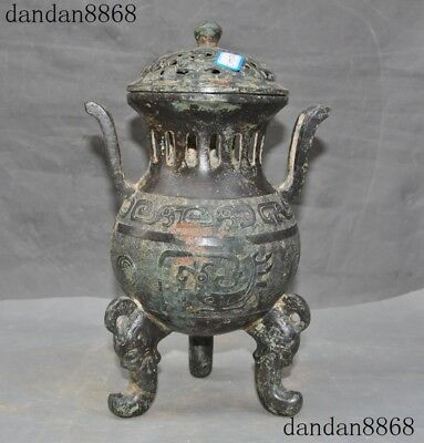 Antiques Chinese Bronze Ware Bird Beast Bottle Incense Burner Statue