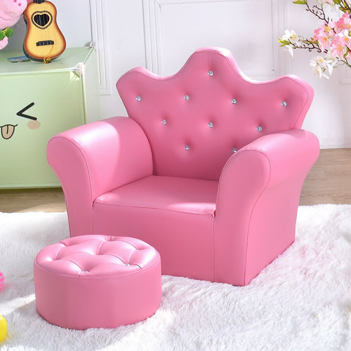 Kids Sofa Couch with Ottoman Pink Armrest Furniture for Toddler Girls Bedroom