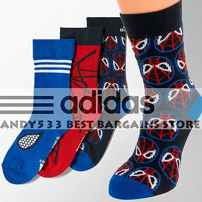 68885d73a7 adidas Marvel Spiderman Boys Girls Disney Kids Socks EU 35-38 US 3K-5.5K 3  Pairs 4054709653674 | eBay