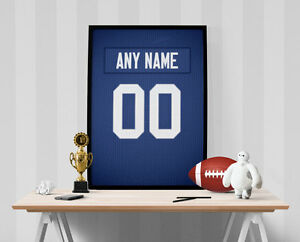 New York Giants Jersey Poster - Personalized Name & Number FREE US SHIPPING