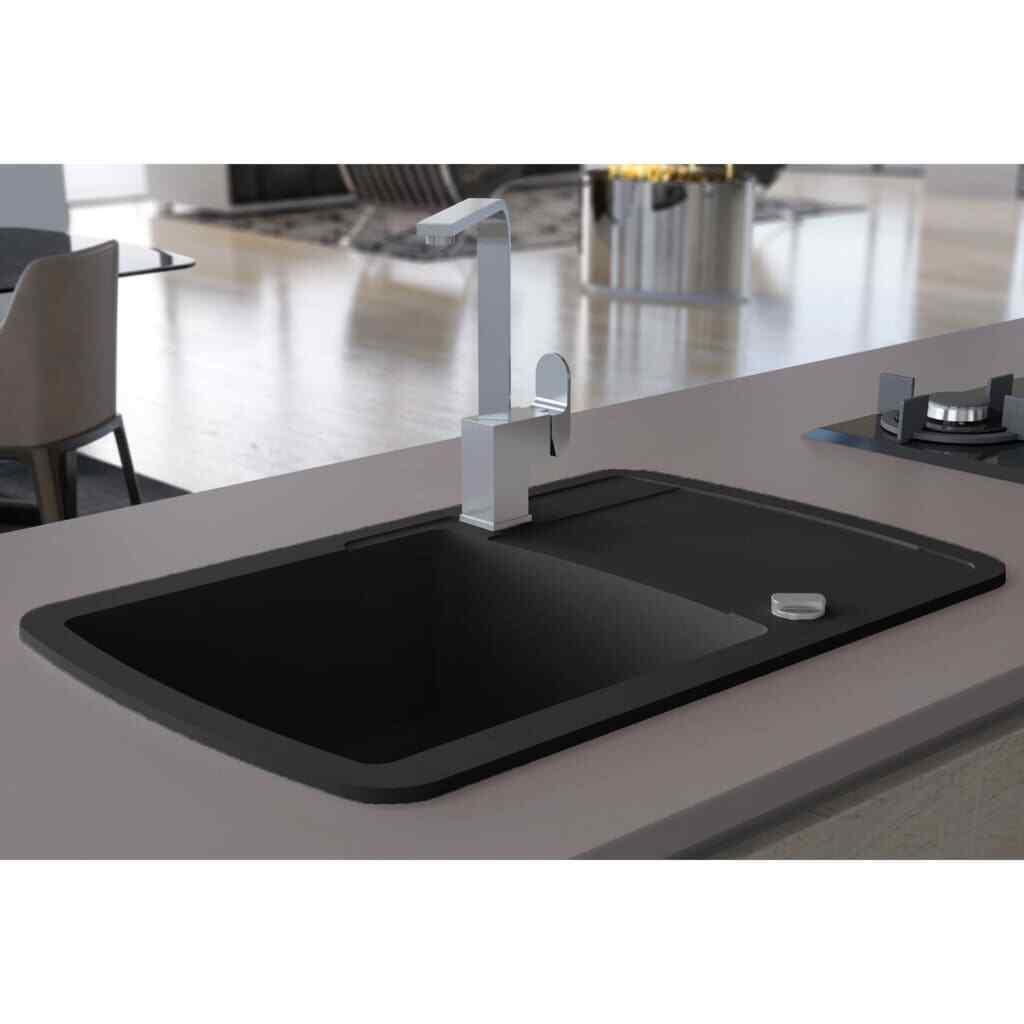 VidaXL Lavello da Cucina Granito Vasca Singola Nero Lavabo Lavandino Arrossoo