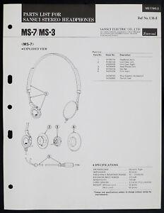 Sansui-MS-7-MS-3-Original-Stereo-Headphones-Parts-List-O153