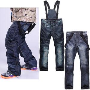 Outdoor-Sports-Waterproof-Men-039-s-Denim-Pants-Ski-Snowboard-Pants-Hiking-Trousers