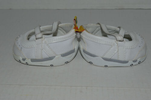 Details about  /Build A Bear Shoes~Casuals~White With Cross Over Straps~Silver Tab Flowers