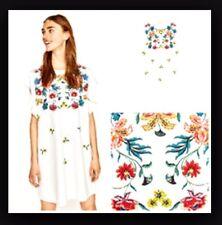 ZARA *White Floral Print Dress With Ruffle* SIZE M UK 10 5580/150