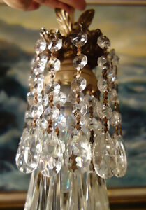of hanging lamp mini swag chandelier crystal prisms brass, Lighting ideas