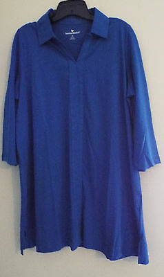 Women's Plus Size Collared Tunic Long Sleeves in Royal Blue (M) 14/16