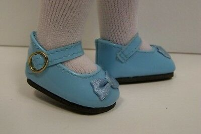 Debs LT BLUE Patent Mary Jane Doll Shoes w//Satin Bow For Helen Kish Riley
