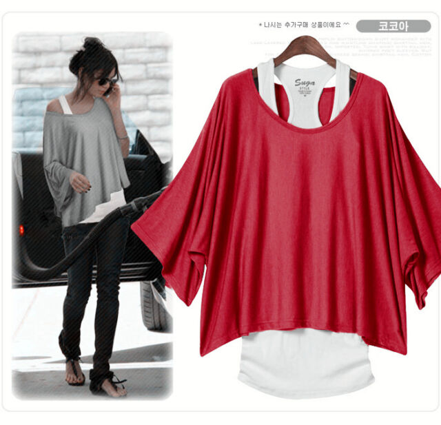 Fashion Womens Off the Shoulder T-shirt 2 in 1 Batwing Sleeve Vest Tops Shirt