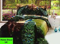 Double size Peacocks print 3d duvet cover bedding set 100% cotton