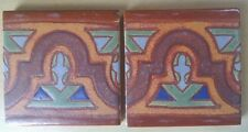 American Encaustic Tile Los Angeles AETCO Pair Two 2 Arts & Crafts Art Deco