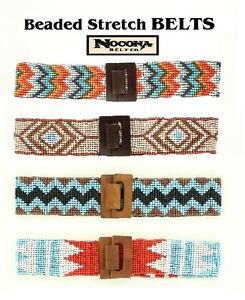 Ladies-SOUTHWEST-Style-BEADED-STRETCH-BELT-Nocona-Brown-Blue-Corral-White-16