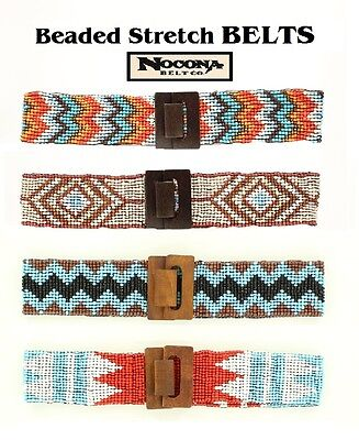 Blue Ladies SOUTHWEST Style BEADED-STRETCH BELT ~Nocona~ Brown Corral White 16