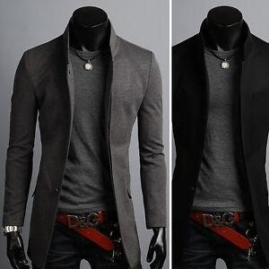 Das Bild wird geladen Neue-Mode-Herren-Praemie-China-Kragen-Lange-Blazer- a258552789
