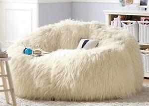 large shaggy faux fur beanbag cover plush bean bag chair 116cm d white ebay. Black Bedroom Furniture Sets. Home Design Ideas