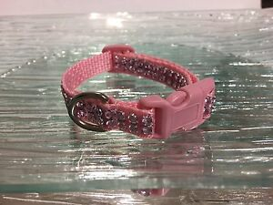 Rhinestone Bling Puppy Small Dog Collar Pink Girly Plastic Buckle Adjustable