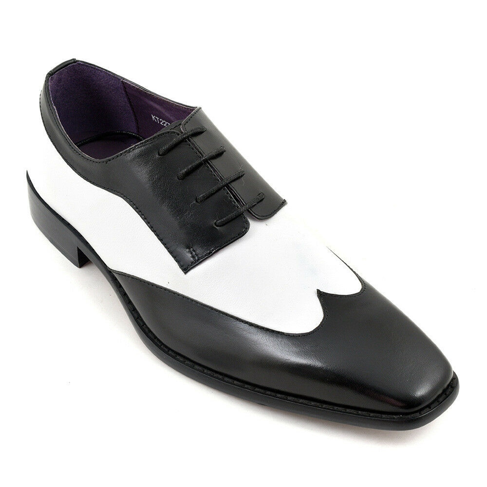 MEN NEU HANDMADE LEATHER BLACK AND WEISS SPECTATOR DRESS Schuhe