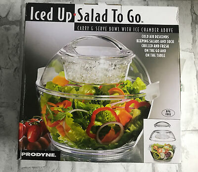 Iced Up Salad To Go Carry Serve Bowl With Dome Lid That Keeps The Cold In Gift Ebay