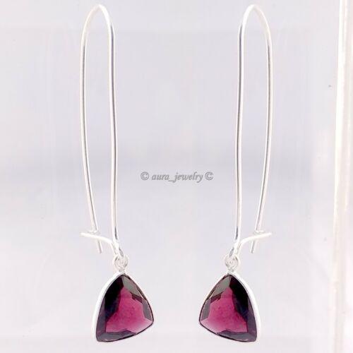 Garnet Solid 925 Sterling Silver Drop Dangle Earrings