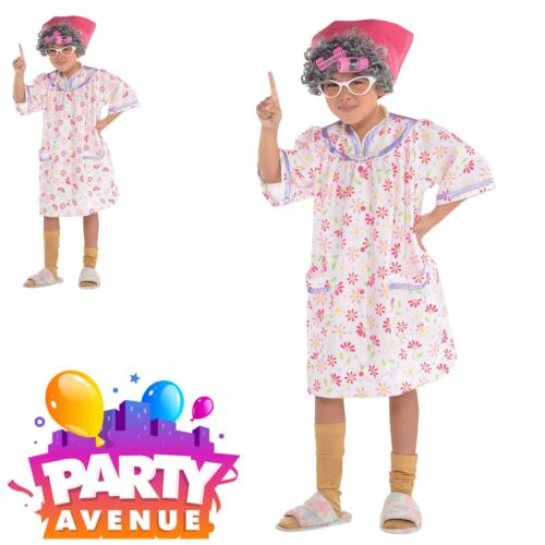 Girls Old Lady Nightdress Fancy Dress Up Costume Granny Grandma Gangsta