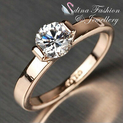 18K Rose Gold Plated Made With Swarovski Element Classic Simple Wedding Ring