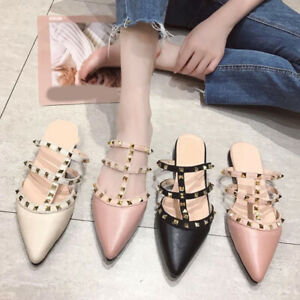 Women-Rivet-T-strap-Slides-Slip-On-Mules-Luxury-Slippers-Loafers-Fashion-Shoes