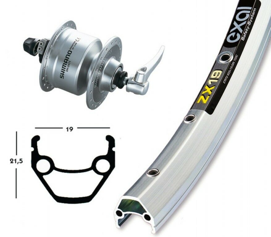 Bike-Parts 28″ Vorderrad Exal  ZX 19 + Nabendynamo Shimano DH-3N72 (QR)  the newest