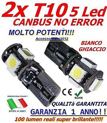 2 LAMPADE T10 5 LED POTENTISSIMI CANBUS NO ERROR BIANCO PURO QUALITà GARANTITA