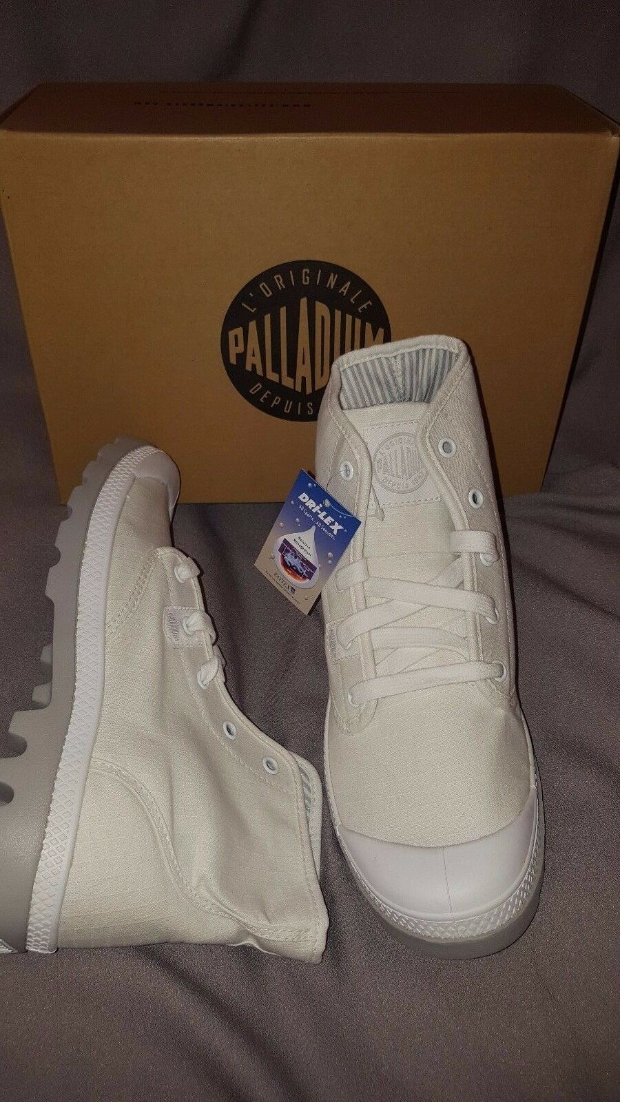 PALLADIUM PAMPA HI LITE WHITE VAPOR 92667170 WOMENS US 8.5 NEW NIB