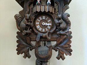 Vtg-Hunter-Cuckoo-Clock-German-Black-Forest-hand-Carved-original-box-receipt