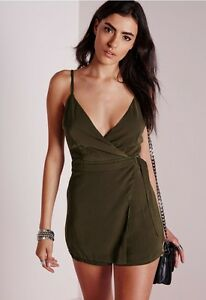 06c7e15f4f3 Pre-Owned Missguided Woman s D-Ring Skort Play Suit Khaki Green Size ...