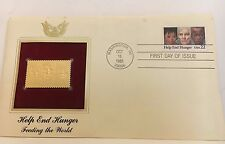 "22 kt Gold Replicas of U S STAMPS  ""Help End Hunger"" 1985"