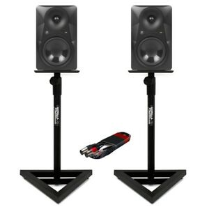 2x-Mackie-MR824-8-034-Studio-Monitors-with-Gorilla-GSM-100-Monitor-Stands-amp-Cable