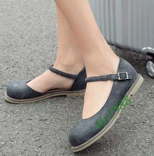 Preppy Style Womens PU Leather Mary Janes Ankle Strap Low Heel Round Toe Shoes