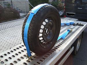 Auto Radsicherungsgurte 4 x Zurrgurt  Ratsche Geprüfte Qualität EN 12195-2 Blau