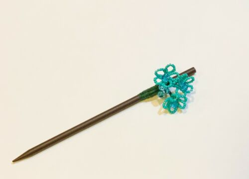 Details about  /1 Pc Of Blue Turquoise Color French Beaded Floral Hair Stick In Seed Beads
