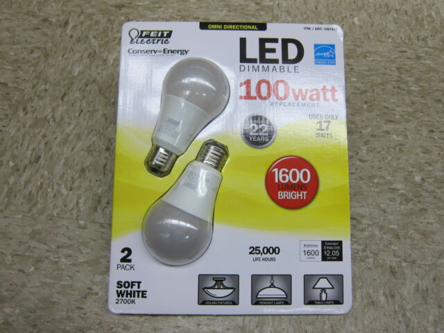 Feit Electric LED 100W 1600 Lumens Omni Directional light bulb 2700K 2 Pack