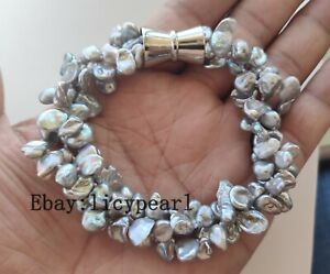 Details zu Neu 3 Stränge graue Keshi Perle Armband