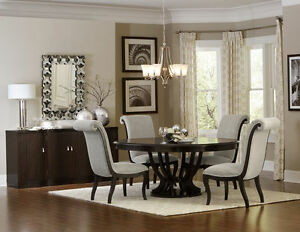 Oval Round Espresso Pedestal Dining Table Chairs Dining Room