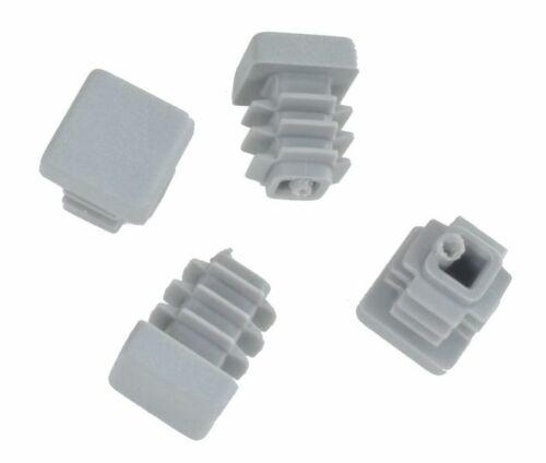 Außen Lamellenstopfen Vierkantrohrstopfen 15 x 15 mm Stopfen GRAU 100 Stück