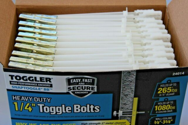 TOGGLER Snaptoggle BB 1//4-20 100 Piece Toggle Bolts 24014 for sale online