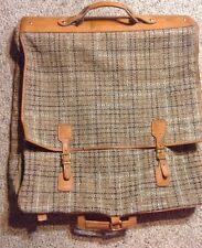 RARE VINTAGE PLAID Hartmann Brown Tweed LEATHER Garment Bag Carry On Luggage