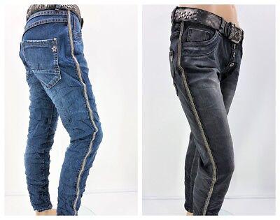 Aus Dem Ausland Importiert Karostar Jeans Baggy Boyfriend Funkelnder Seitenstreifen 2 Farben Gr.40/42