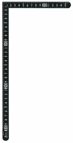 SHINWA Square Ruler 150X300mm White Scale on  Black 12435