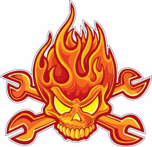 Skull Flame Wrench Mechanic Bumper Sticker Vinyl Decal